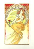 Mucha - yellow by izzi-poems