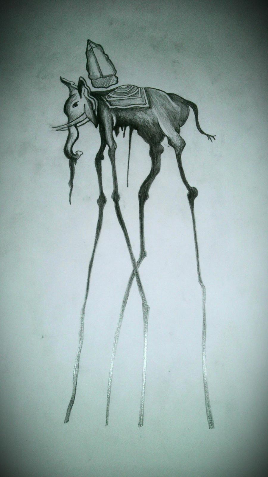 Dali elephant 2 by afictiontale traditional art body art body