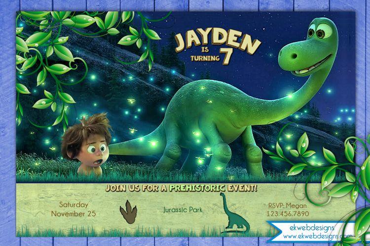 Thegooddinosaurbirthdayinvitation By Ekwebdesigns On - Dinosaur birthday invitation card template