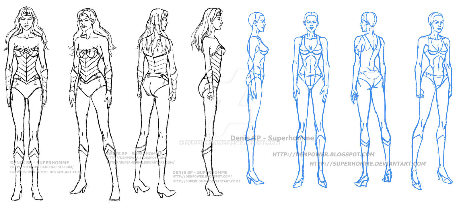 Model sheet of Wonder Woman and a Woman