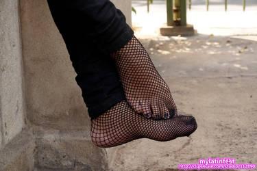 Alexandra pretty fishnet feet! by mylatinfeet
