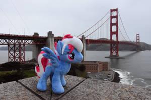 Steam Loco at the Golden Gate Bridge San Francisco