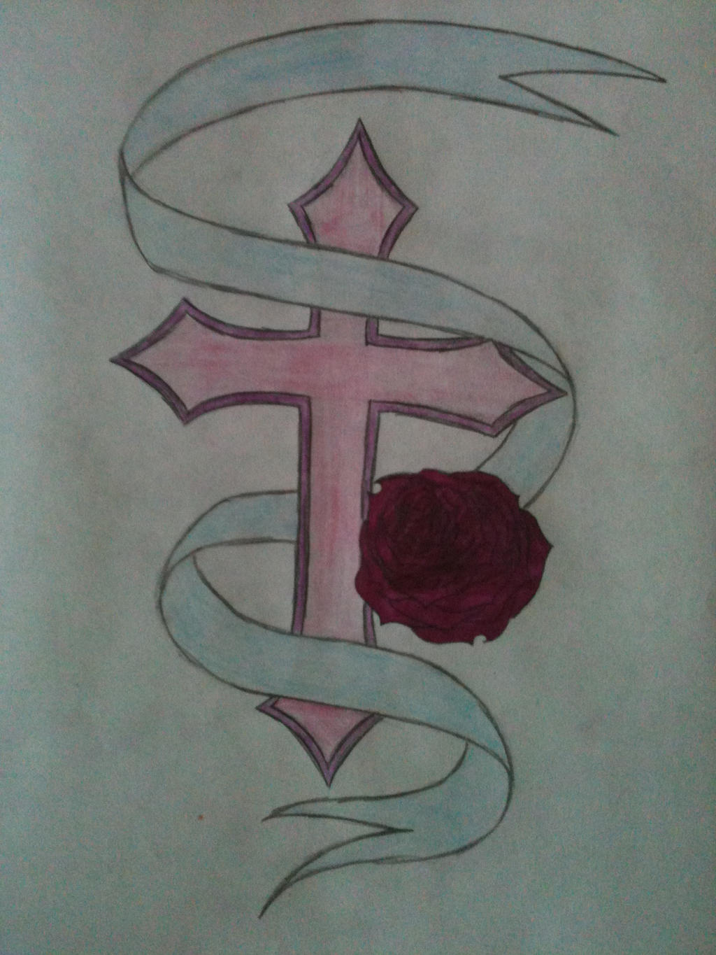 A pretty rose and cross by wolfgurl1994 on deviantart for Pretty rose drawings
