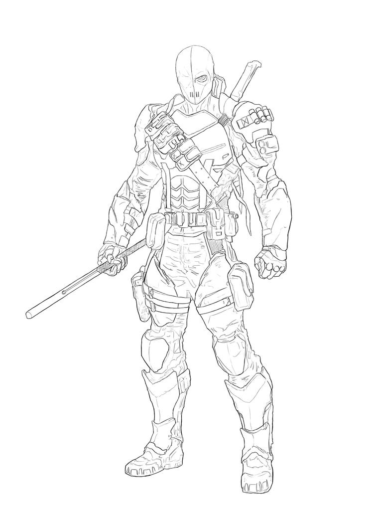 Deathstroke outline from reference by hellacolyte on for Deathstroke coloring pages