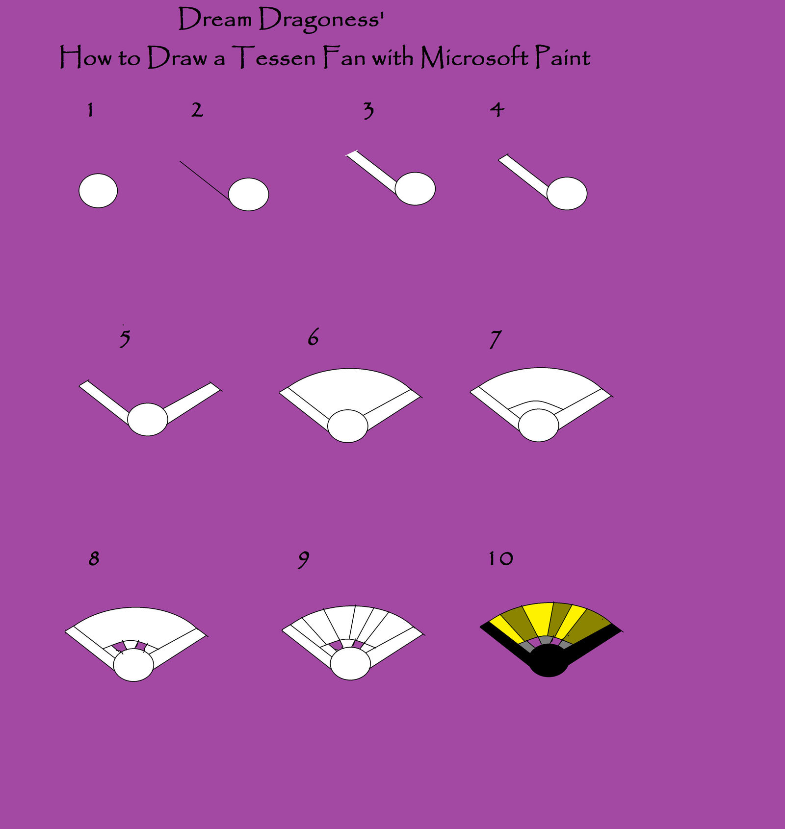 How To Draw A Tessen Fan With Microsoft Paint By Dream Dragoness On Deviantart