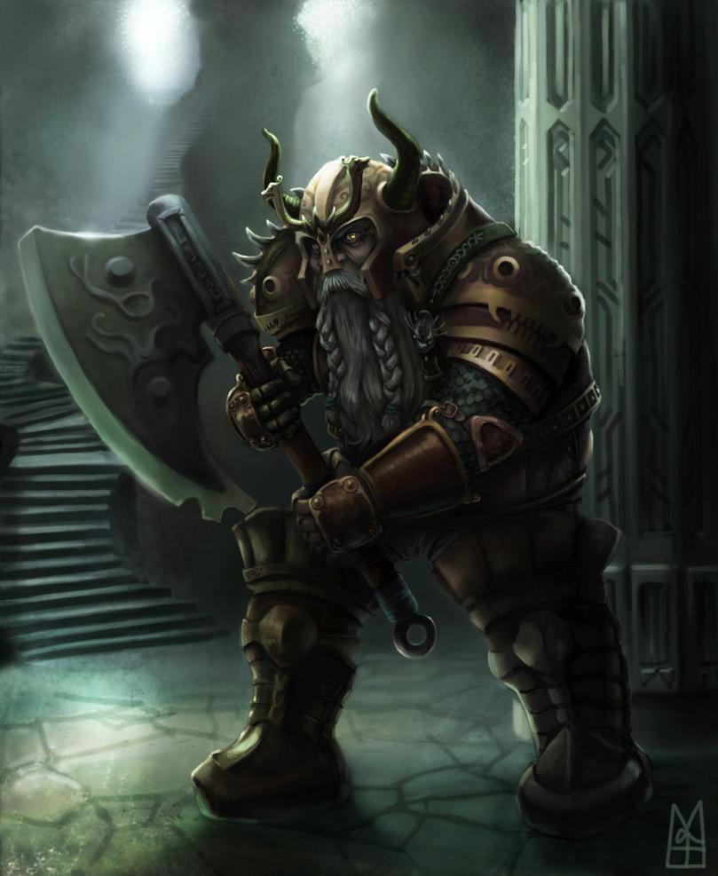 Dwarven warrior in a cold lit dungeon by MathieuLoiseau