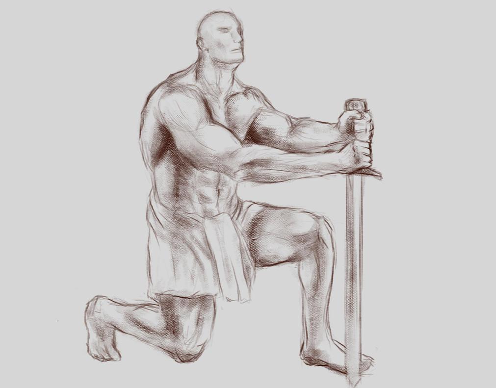 Hulking Warrior Sketch by AlbanArtist