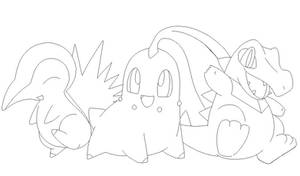 pokemon group lineart1 by michy123