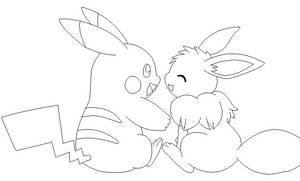 pikachu and eevee lineart