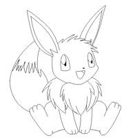eevee   lineart 2 by michy123