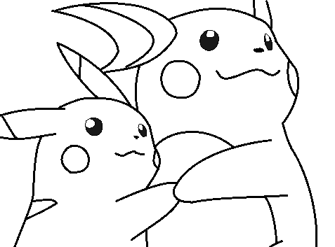 pikachu and raichu lineart by michy123 on DeviantArt
