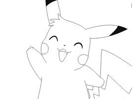 pikachu lineart 4 by michy123