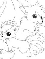 vulpix and ninetales lineart by michy123