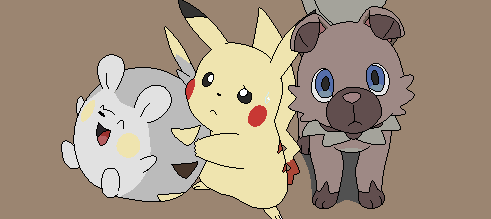 Togedemaru,pikachu, and rockruff lineart by michy123