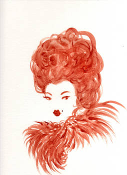 Lady With Feather Collar