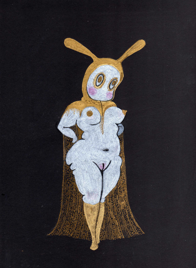 Bunny with Gold Hooded Cape by pink-porcupine