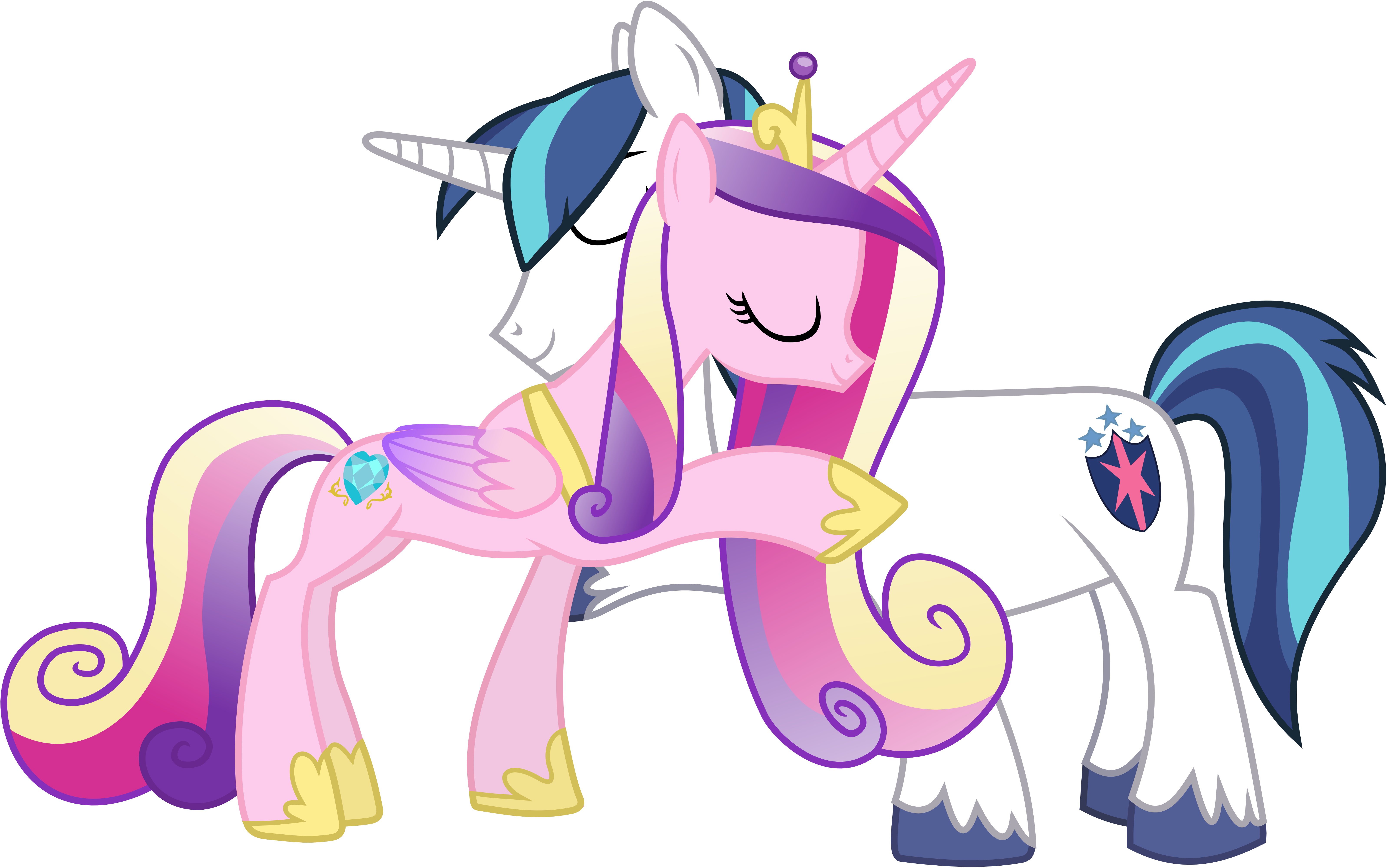 Cadance and Shining Hugging (No Tuxedo Version) by 90Sigma