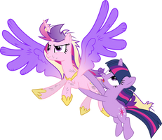 Princess Cadance and Twilight Sparkle Flying by 90Sigma