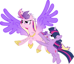 Princess Cadance and Twilight Sparkle Flying