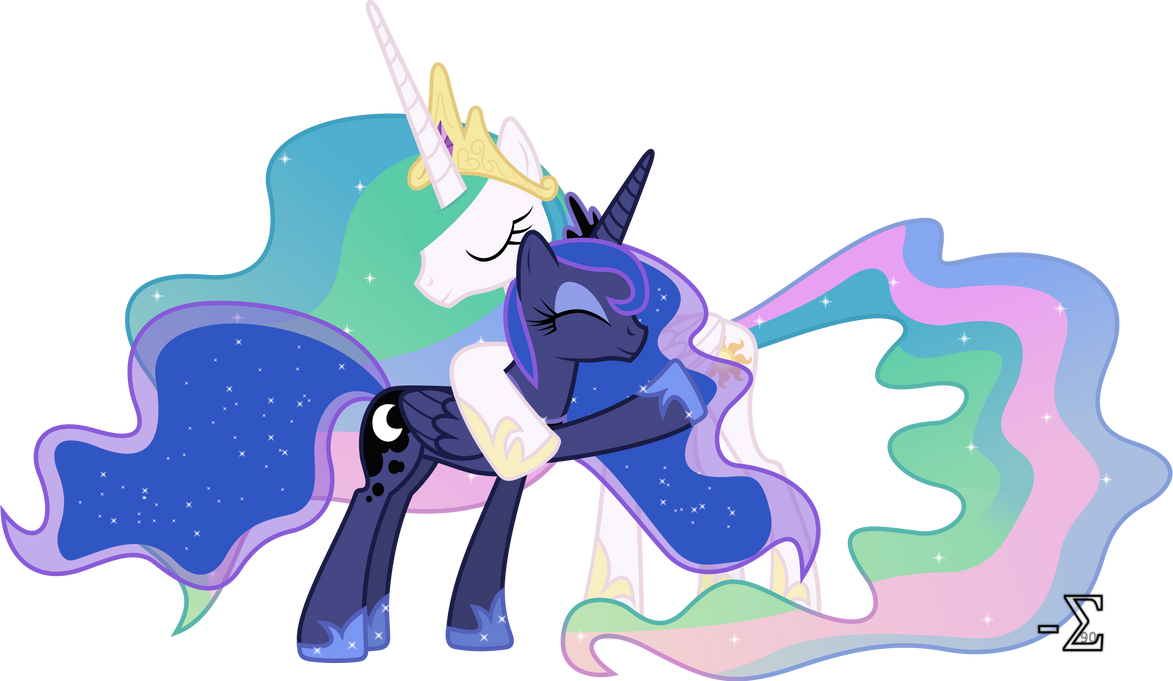 Celestia and Luna Hugging (Luna Major Ver.) by 90Sigma