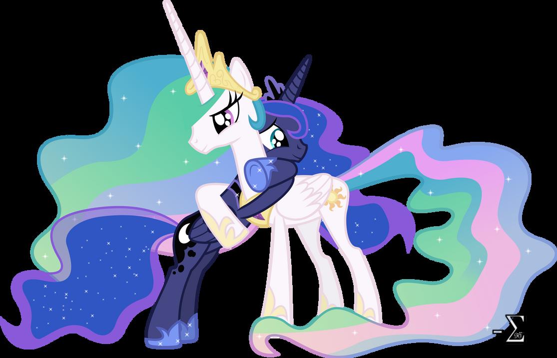 Celestia and Luna Hugging (Celestia Major Ver.) by 90Sigma