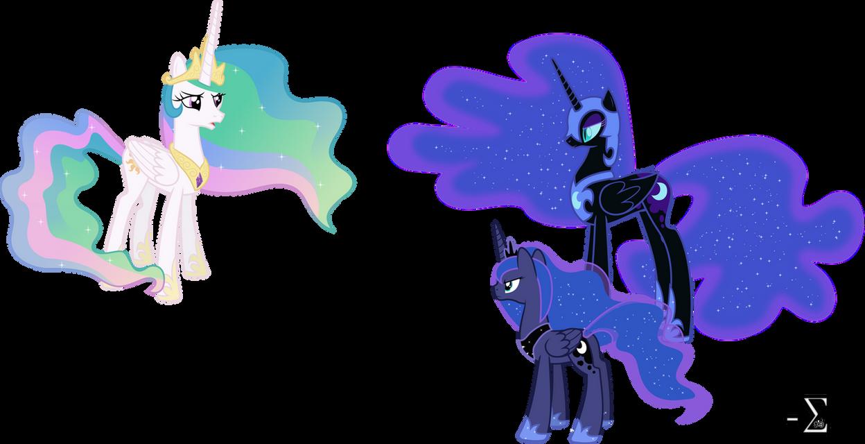 Nightmare and Luna Confront Celestia by 90Sigma