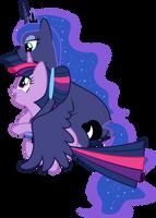 Luna and Twilight Cuddling (No Background Ver.) by 90Sigma