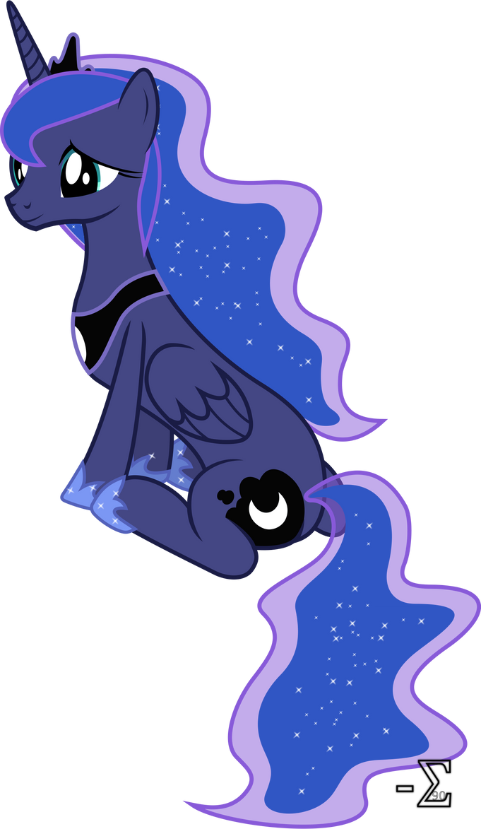 Princess Luna Sitting Down (And Looking Adorable) by 90Sigma