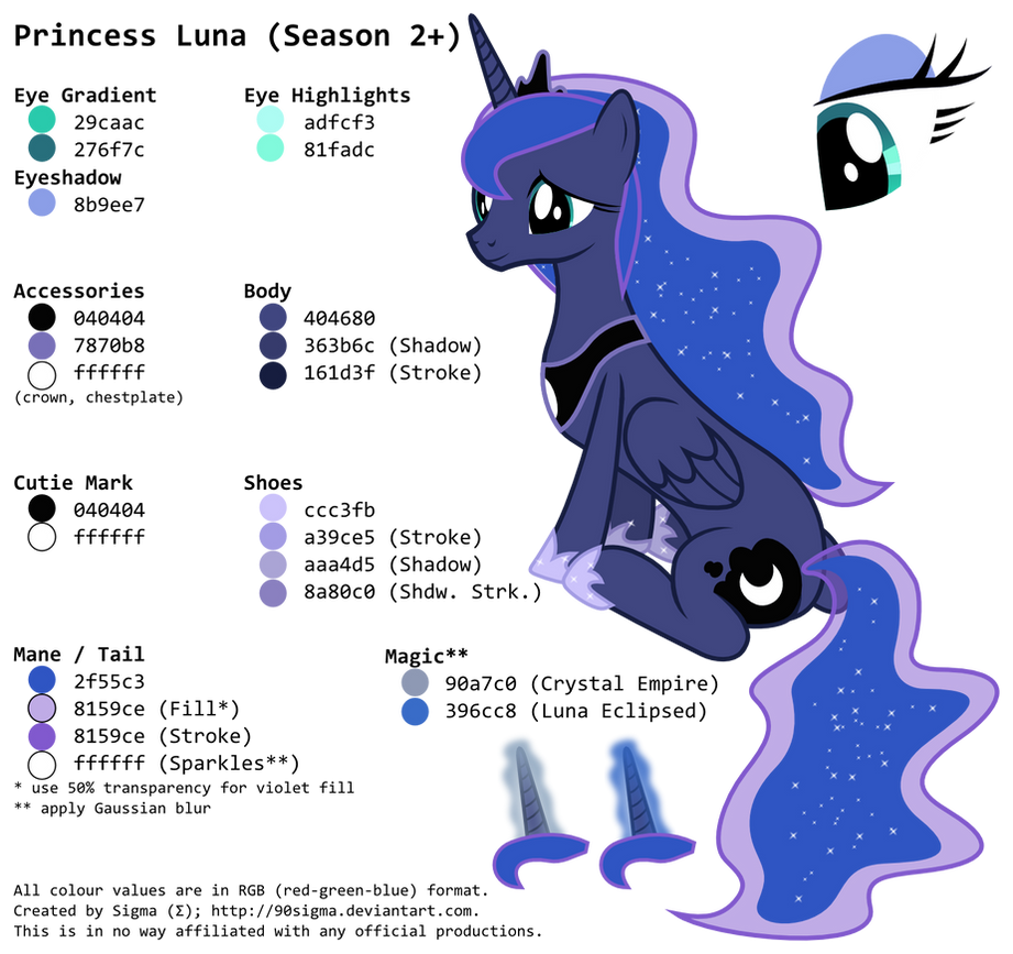 Princess Luna\'s (Season 2+) Colour Palette by 90Sigma on DeviantArt