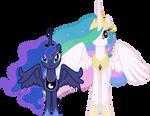 Concerned Princess Celestia and Princess Luna