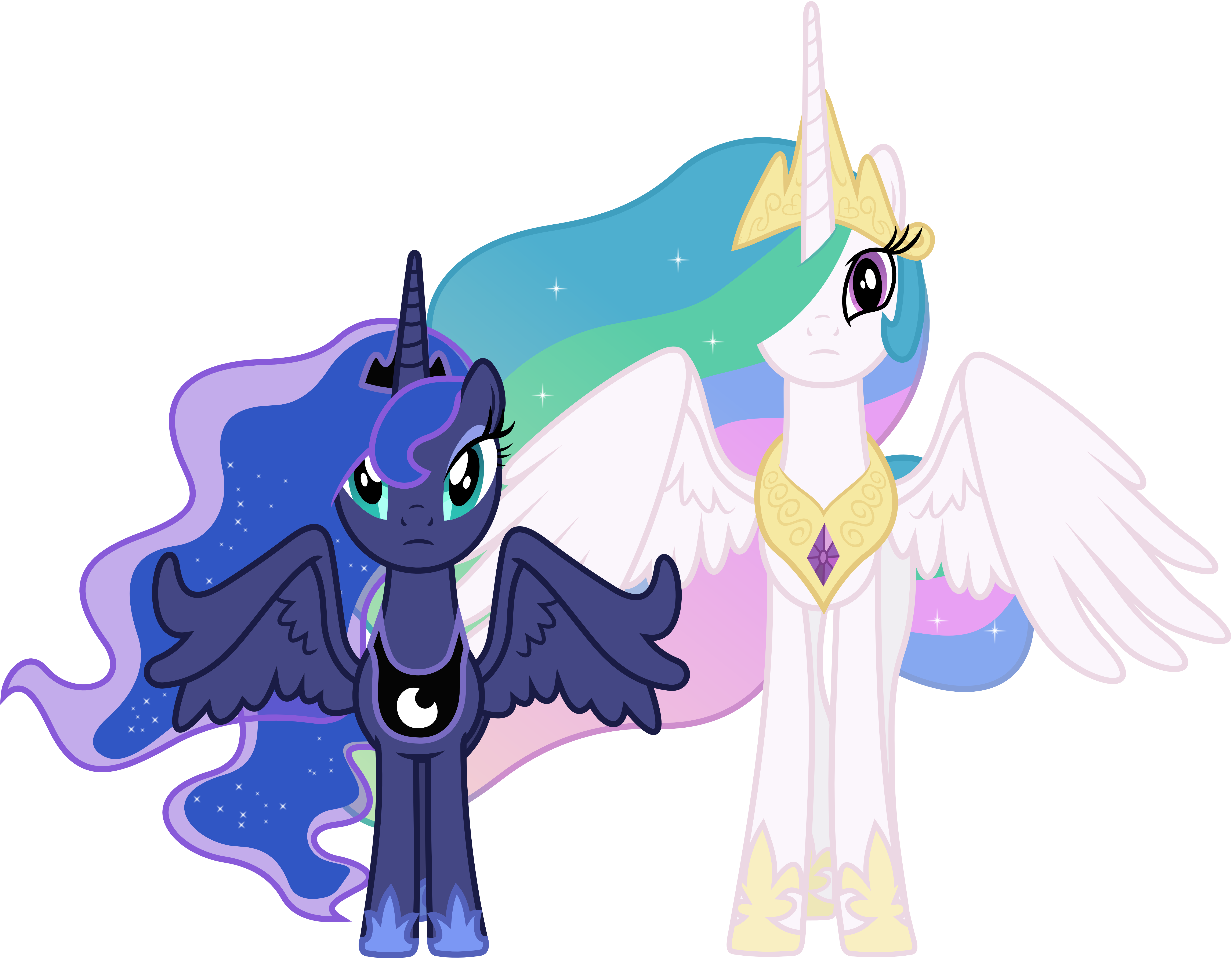 Concerned Princess Celestia And Princess Luna By 90Sigma ...