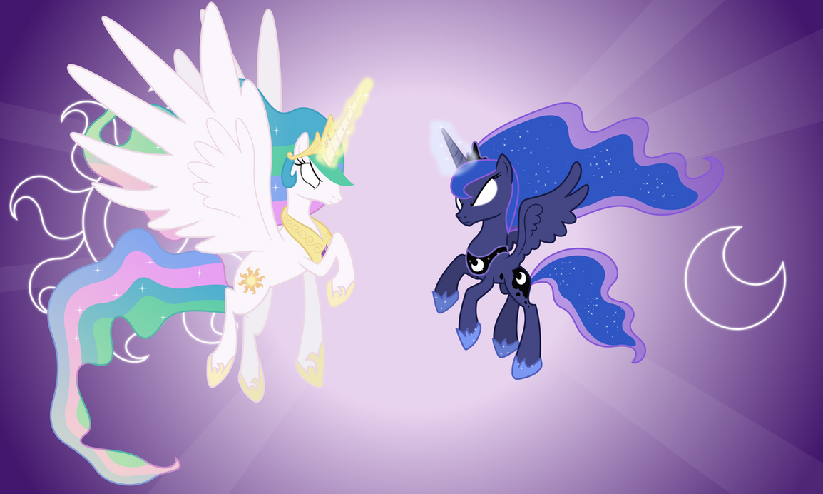 Celestia and Luna Attacking (Full) (Coloured) by 90Sigma