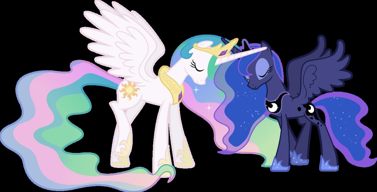 Celestia and Luna Touching Horns