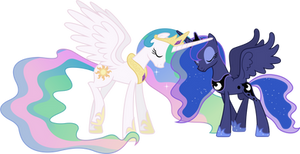 Celestia and Luna Touching Horns