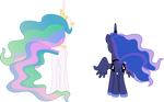 Princess Celestia and Princess Luna From Behind