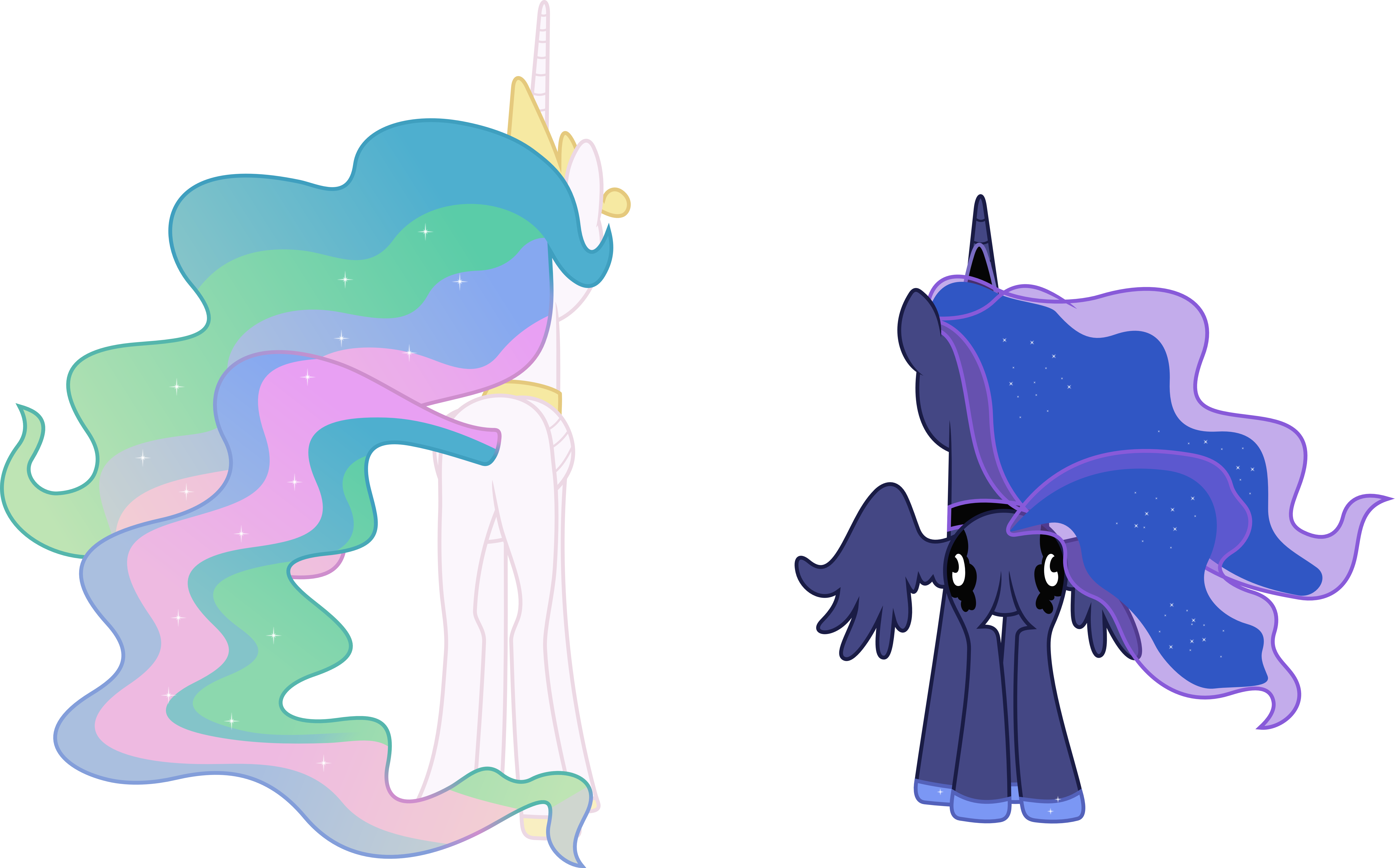 Princess Celestia and Princess Luna From Behind by 90Sigma