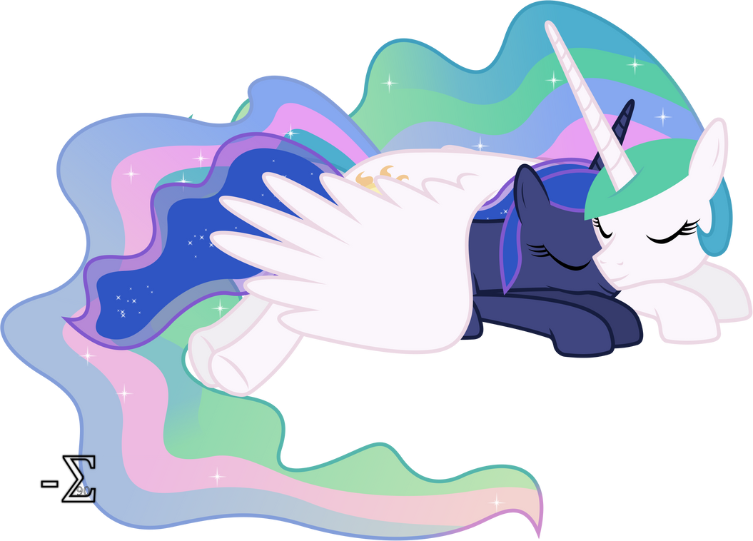 Celestia and Luna Sleeping (Asleep Version) by 90Sigma