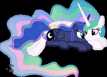 Celestia and Luna Sleeping (Awake Version) by 90Sigma