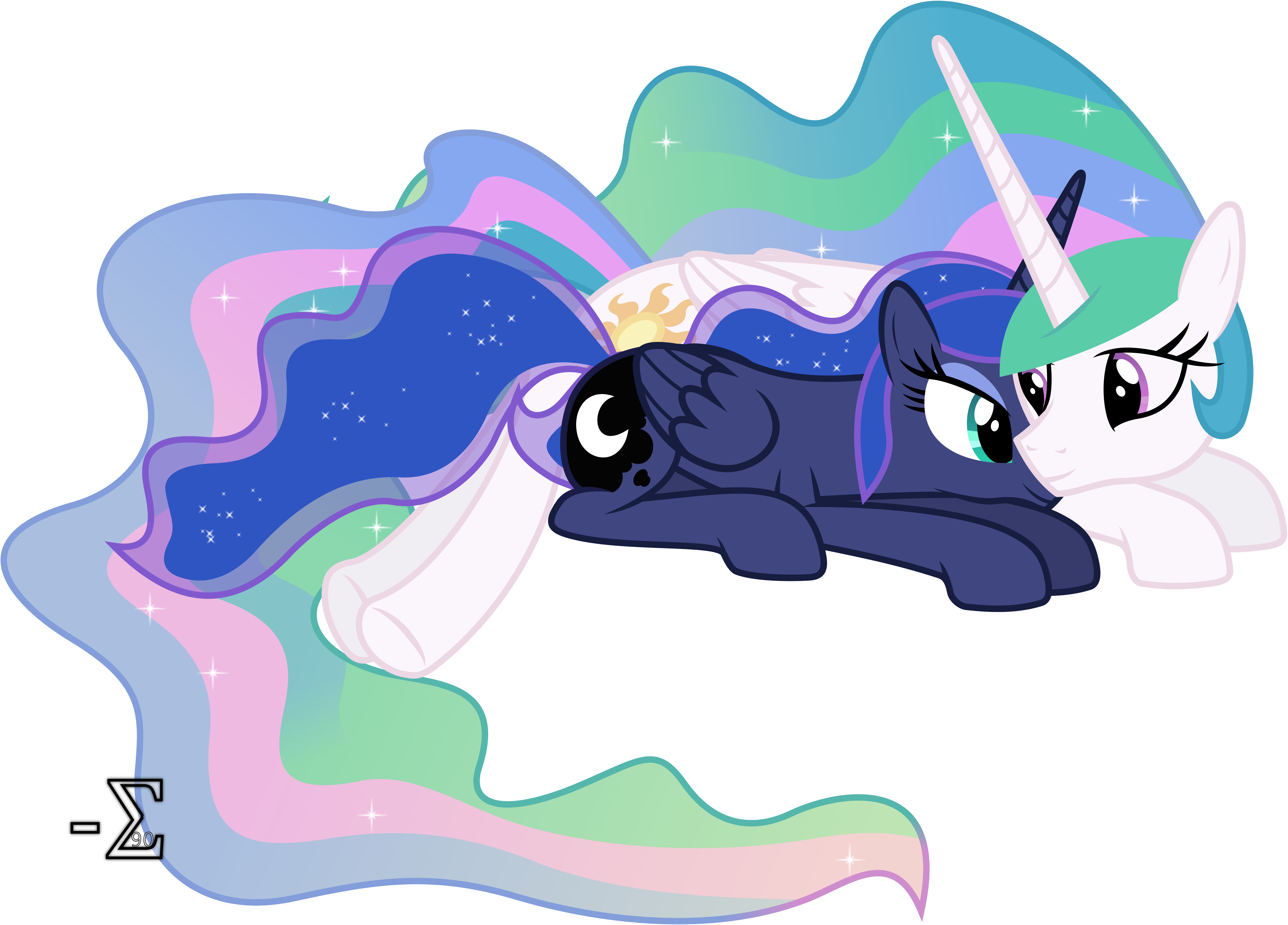 Celestia and Luna Sleeping (Awake Version) by 90Sigma
