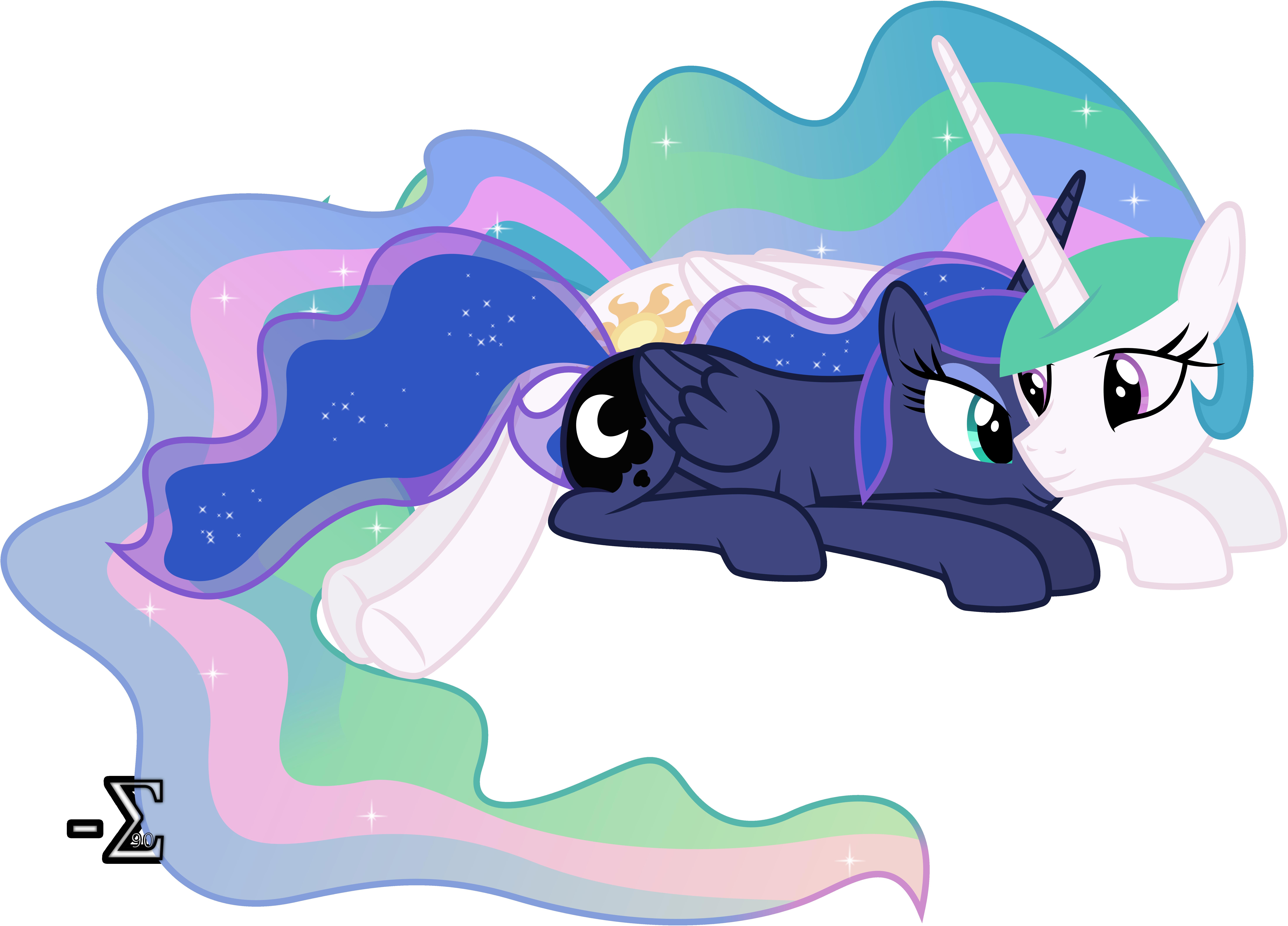 Celestia and Luna Sleeping (Awake Version)