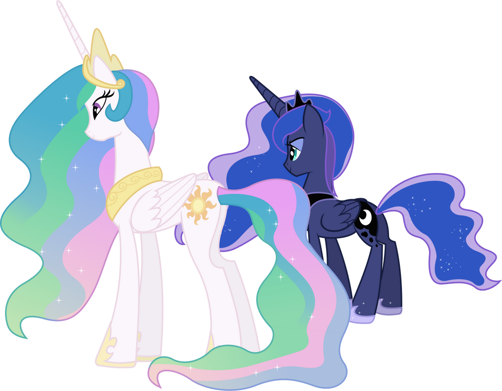 Princess Celestia and Princess Luna Overlooking by 90Sigma