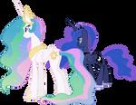 Princess Celestia and Princess Luna Overlooking