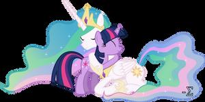 Princess Celestia and Twilight Sparkle Hugging (1)