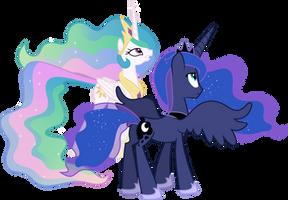 Princess Celestia and Princess Luna Conversing (2) by 90Sigma