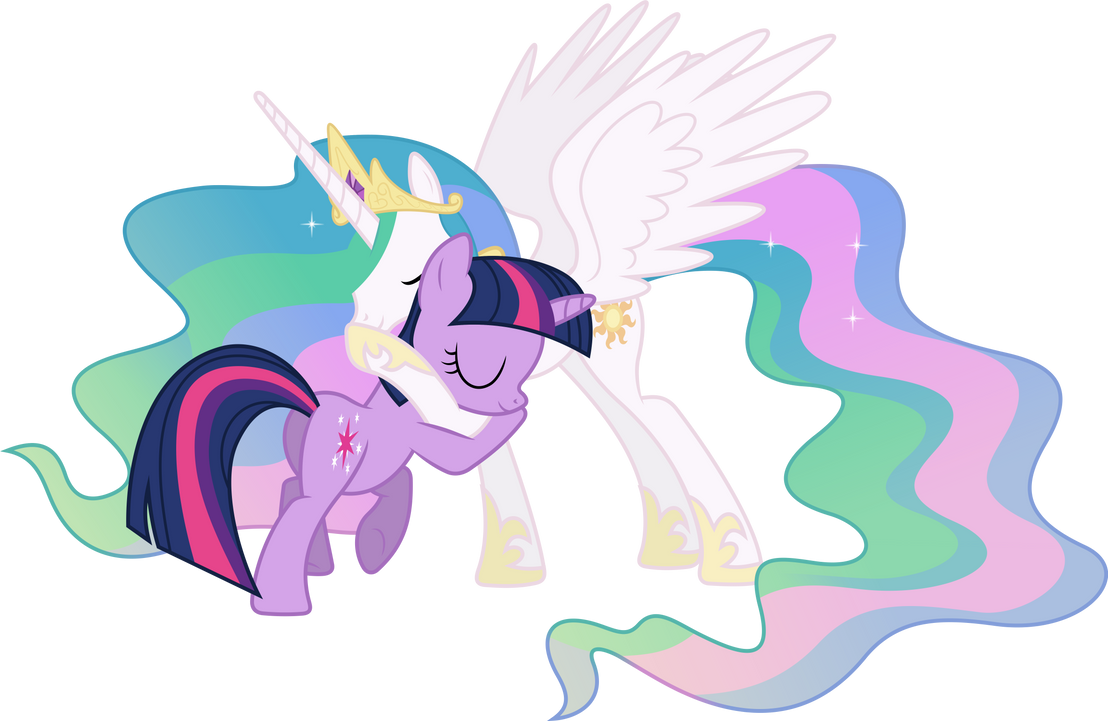 Princess Celestia And Twilight Sparkle Hugging 2 By