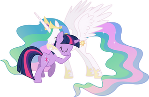 Princess Celestia and Twilight Sparkle Hugging (2) by 90Sigma