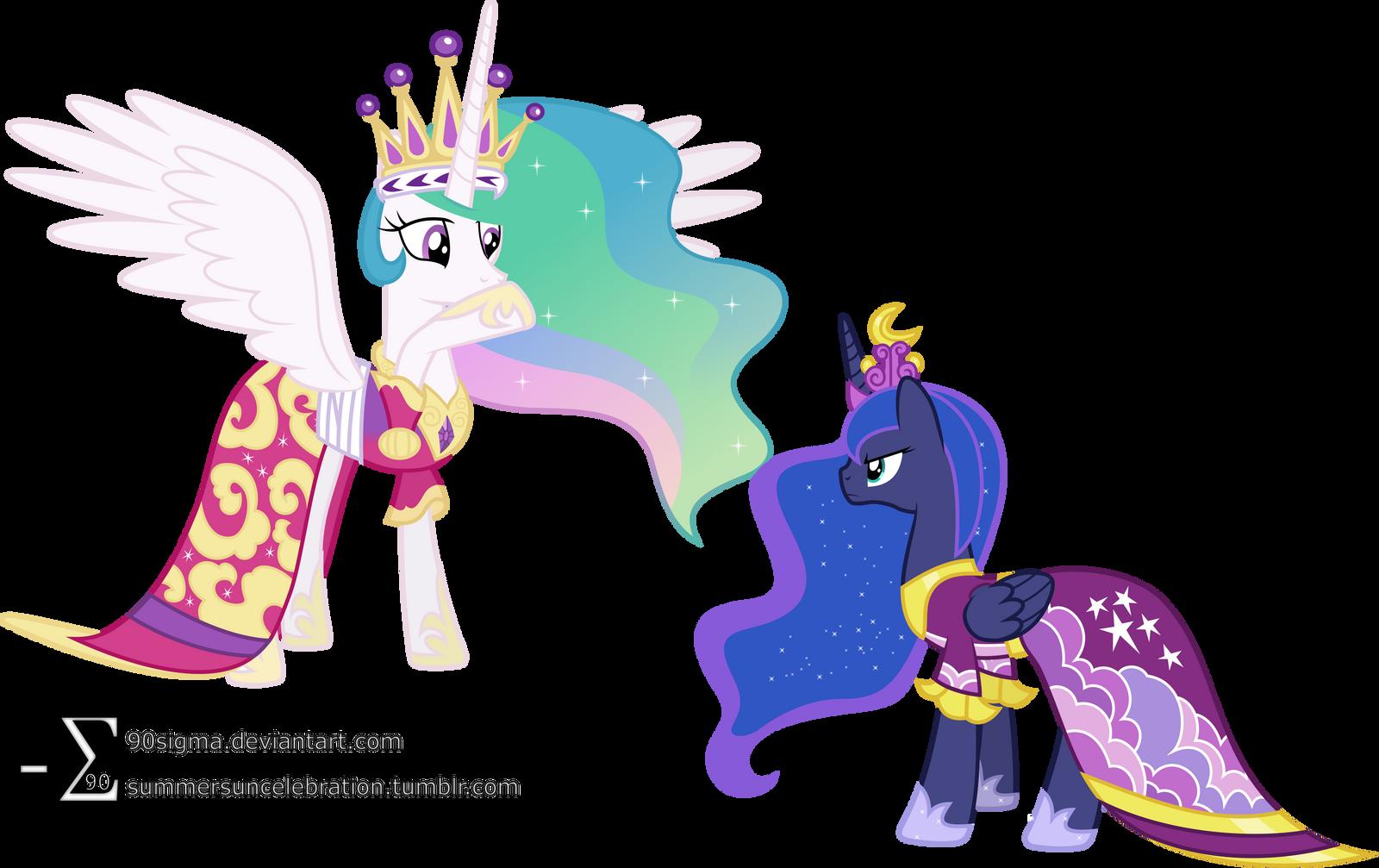 Luna Confronts Celestia Coronation Dresses Ver By 90Sigma On