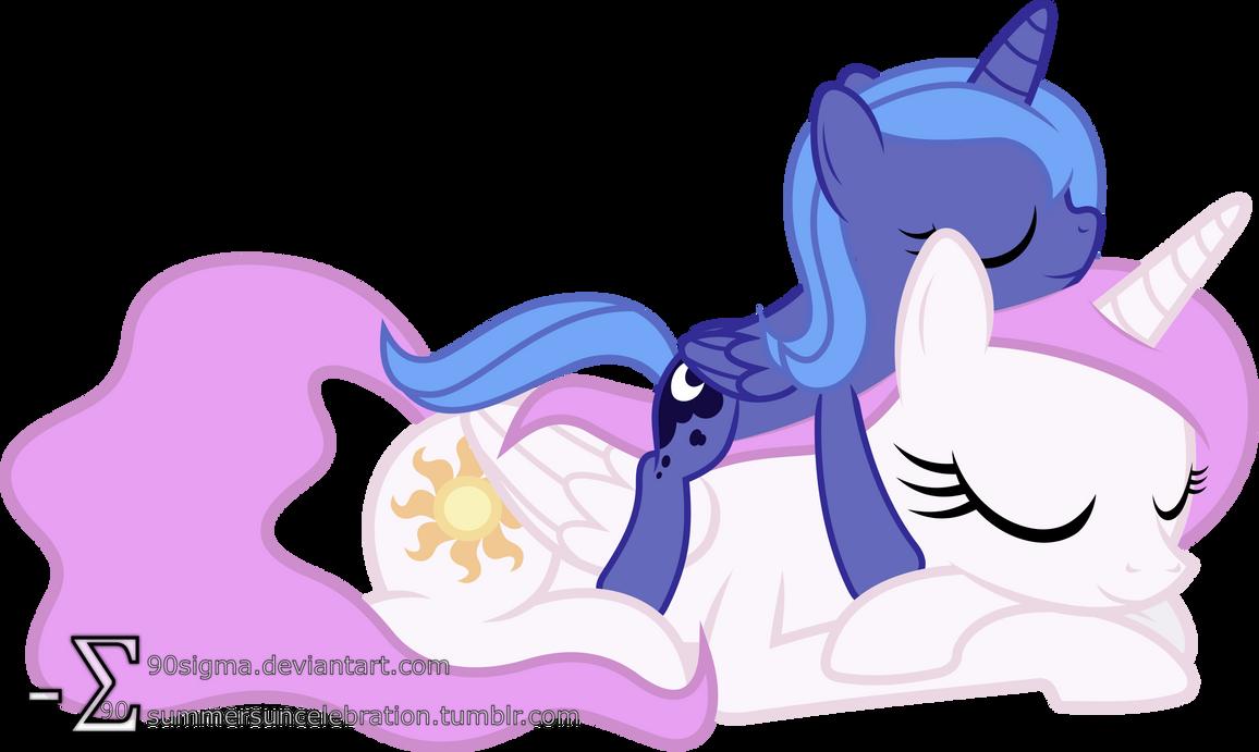 Princess Celestia and Princess Luna Sleeping (2)