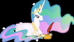 Princess Celestia Penning a Letter
