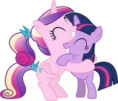 Princess Cadance and Twilight Sparkle Hugging (2) by 90Sigma